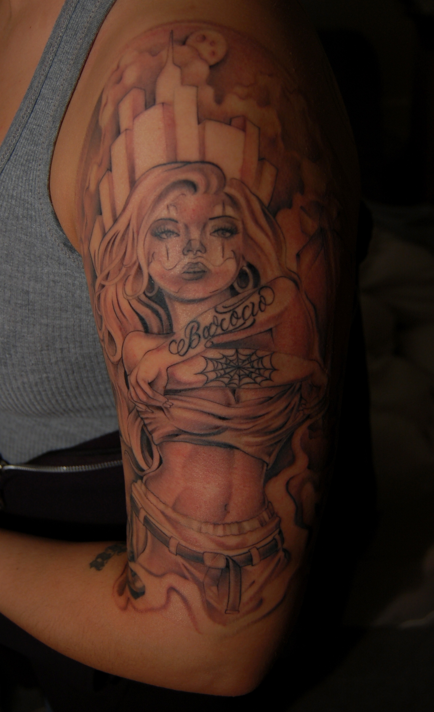 girl, Gangster tattoo,